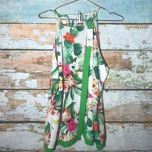 NY & Co XL tropical floral white sleeveless top